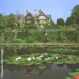 Photographs - The house and pond at Bodnant Gardens