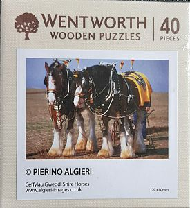 Micro Wooden Jigsaws - Shire Horses